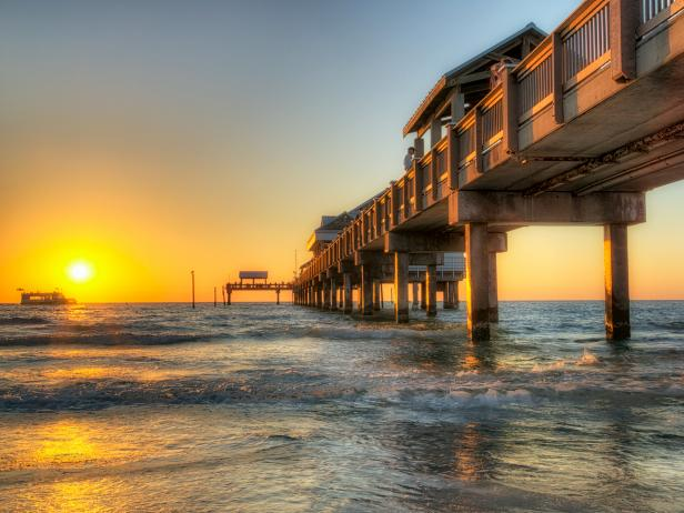 ocean, beach, florida, sunset, dock